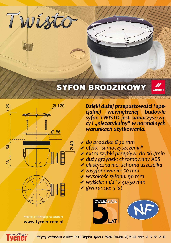 Karta techniczna - Syfon brodzikowy Twisto