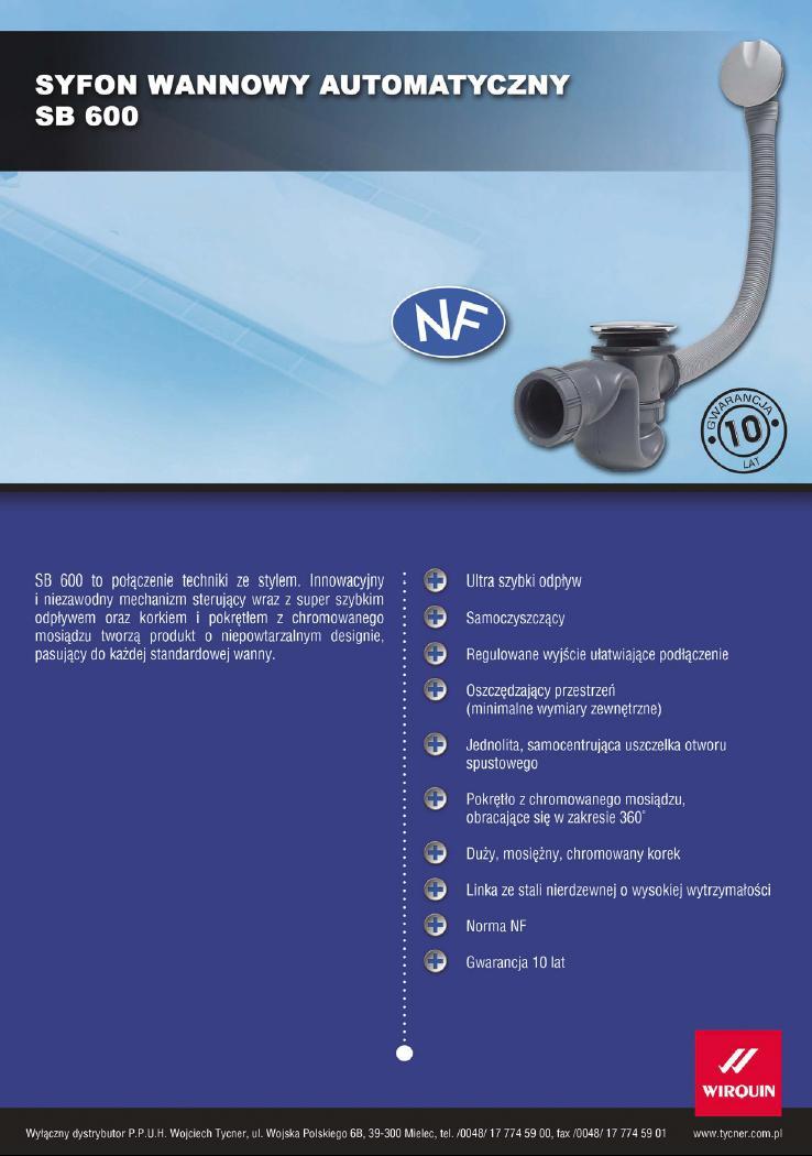 Karta techniczna - Syfon wannowy automatyczny SB 600