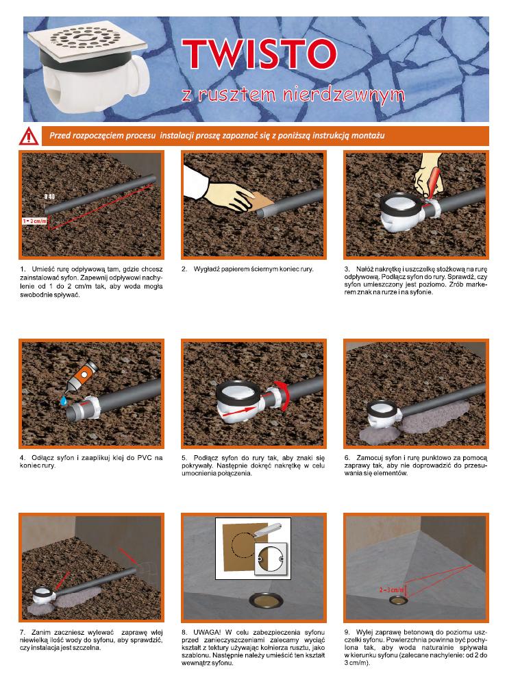 Instrukcja montażu - Odpływ brodzikowy Twisto z rusztem nierdzewnym