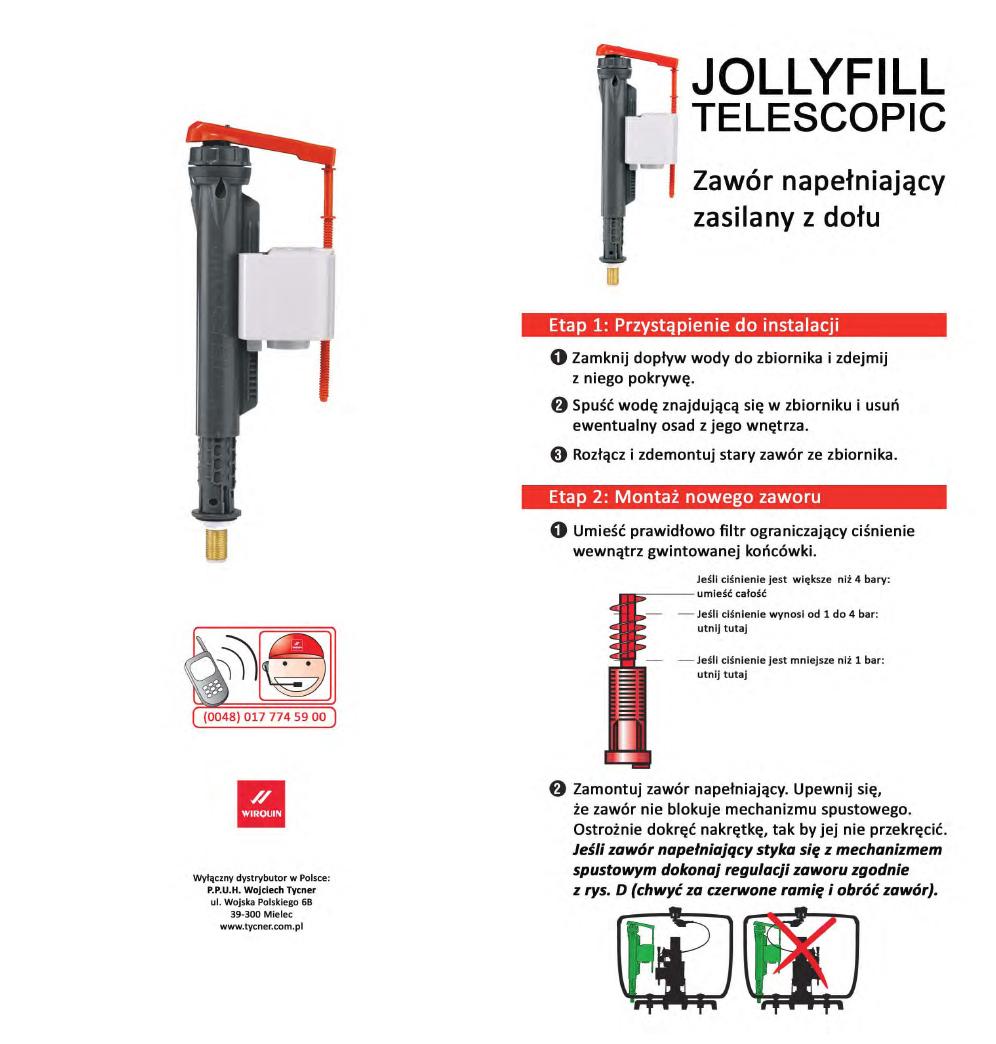 Instrukcja montażu - Zawór napełniający Jollyfill Telescopic z dolnym zasilaniem