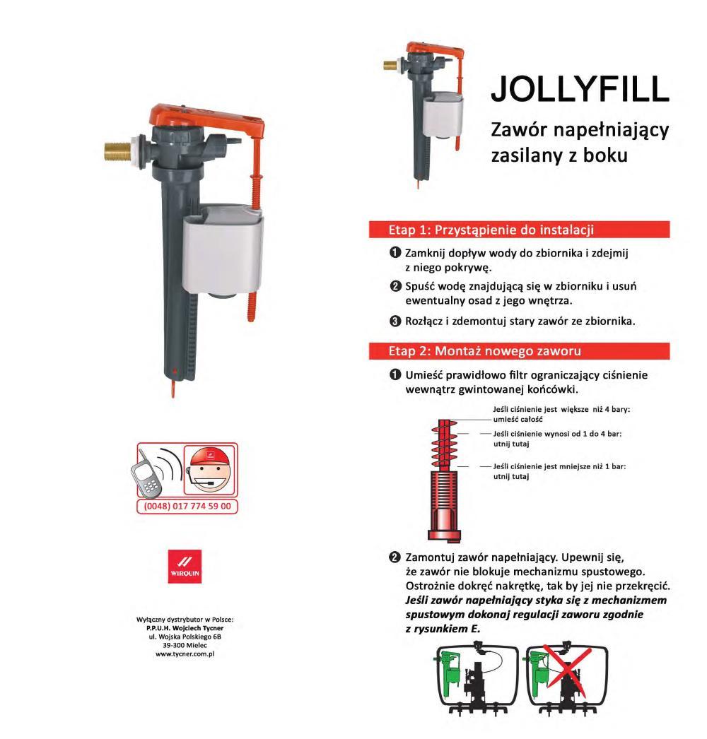 Instrukcja montażu - Zawór napełniający Jollyfill z bocznym zasilaniem