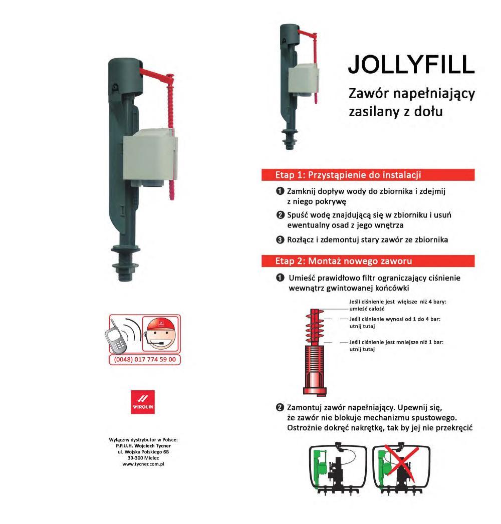 Instrukcja montażu - Zawór napełniający Jollyfill z dolnym zasilaniem
