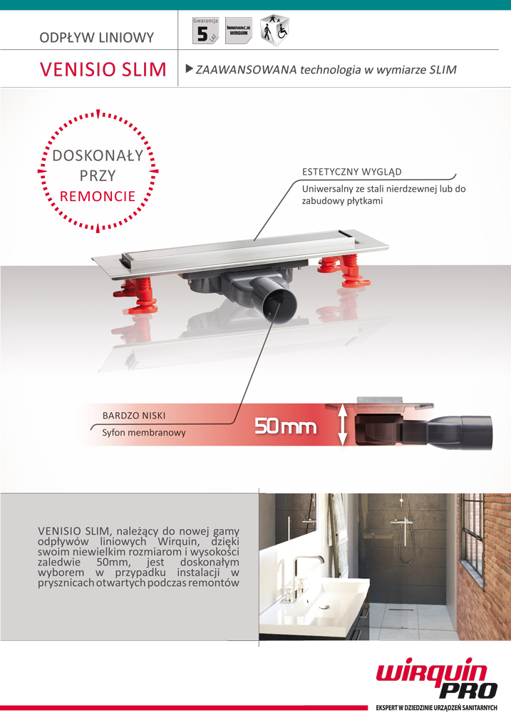 Karta techniczna - Odpływ liniowy do prysznica Venisio Slim